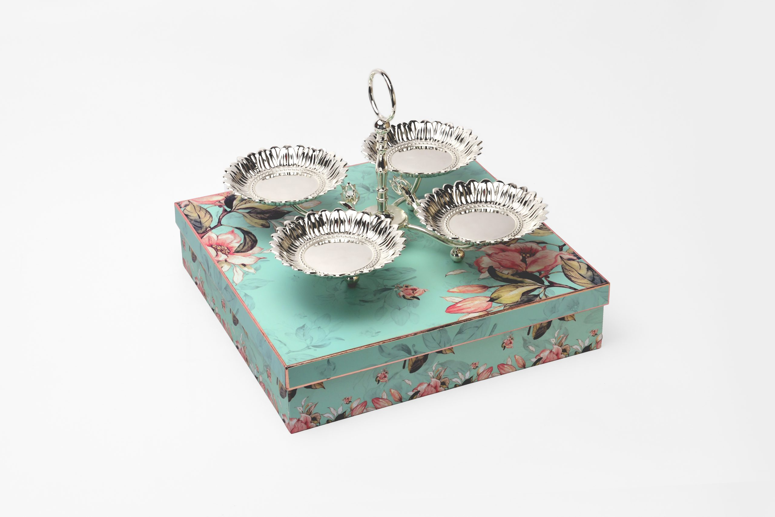 SILVER PLATED FOUR COMBINED FRUIT DISH WITH STAND