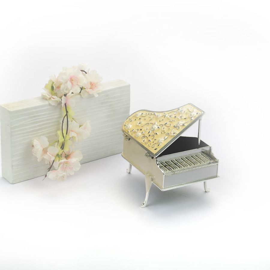 Piano Shaped Enamelled Silver Box